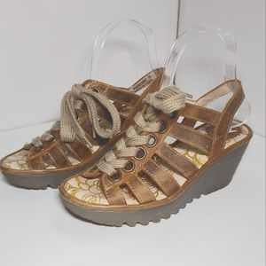 FLY London Yito Caged Lace Up Wedge Sandal Brown 6